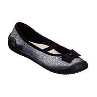 Текстильные туфли для девочки MB Польша серебро р. 36, фото 1