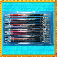 Карандаши цветные двойные со щеткой для бровей  и точилкой, (в наборе 12 шт.).
