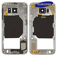 Средняя часть корпуса для Samsung Galaxy S6 Duos G920FD, черная, оригинал