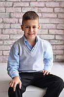 Жилет Many&Many для мальчика однотонный, светло-серый, фото 1