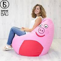 Детское бескаркасное кресло свинка пеппа XXL