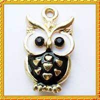 Подвеска - кулон сова черная, металл, Цвет: Золото, выс 20 мм., шир 11 мм. толщ 3 мм.