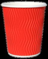 Бумажный стаканчик с гофро стенками RED (500 euro мл)
