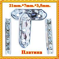 Рондель на 3 отверстия со стразами Цвет: платина, страз: серебро, Размер:21х7х3.5 мм, Отвер 1,5мм