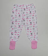 Детские ползунки с носочками для девочки 3,6,9 мес.