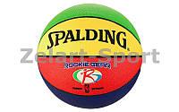 Мяч баскетбольный резиновый №5 SPALDING ROOKIE GEAR (резина, бутил, разноцветный