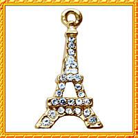 Подвеска - кулон париж 1 со стразами, металл, цвет: золото, выс 22 мм., шир 12 мм. толщ 3 мм.