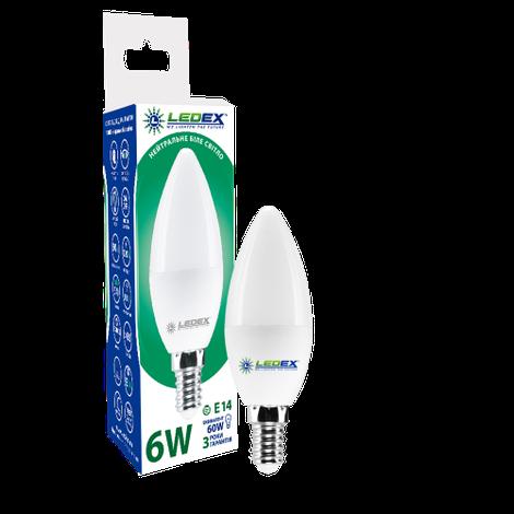 Светодиодная лампа LEDEX, 6W, E14, С37, 570lm, свеча, нейтральный свет 4000К, матовая