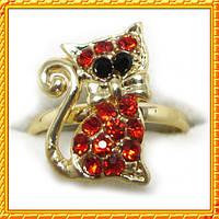 Кольцо Котик, под Золото с Красными Стразами,  Безразмерное