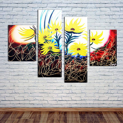 """Модульная картина """"Цветы"""", фото 2"""