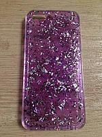 Силиконовый чехол iphone 5/5s/se-фиолетовый(сусальным золотом)