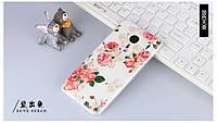 Чехол силиконовый бампер для Meizu pro 5 с картинкой цветы на белом фоне, фото 1