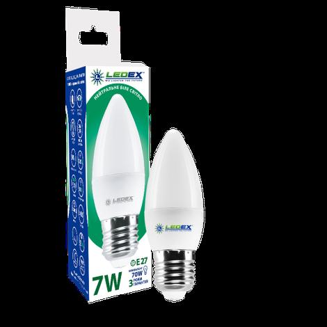 Светодиодная лампа LEDEX, 7W, E27, С37, 665lm, свеча, нейтральный свет 4000К, матовая