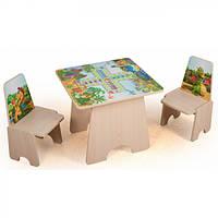 Столик детский игровой 5891 со стульчиками 3 игры + фотопечать