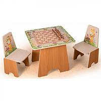 Столик детский игровой 5891 со стульчиками Шахматы + фотопечать
