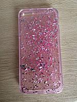 Силиконовый чехол iphone  5/5s/se-розовый(сусальным золотом)