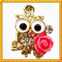 Подвеска - кулон сова с розой, металл, цвет: золото, выс 21 мм., шир 15 мм. толщ 7 мм