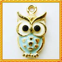 Подвеска - кулон сова голубая, металл, цвет: золото, выс 20 мм., шир 11 мм. толщ 3 мм