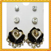 Набор Серьги Черная Роза Сердца со Стразами + Пуссеты Стразы 2 пары, Металл, Эмаль .