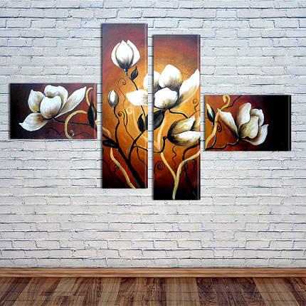 """Модульная картина """"Белые цветы"""", фото 2"""