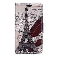 Чехол книжка TPU Wallet Printing для Huawei Y3 II Eiffel Tower and Feather