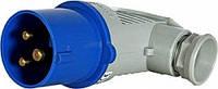 Силовая вилка переносная угловая 2Р+Z, 250В,16A,IP44