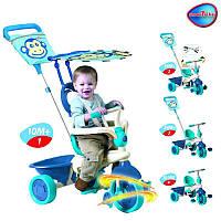 Детский 3-х колесный велосипед 4в1 ручка корзинка козырек Smart Trike Touch Steering Safari Обезьянка голубой