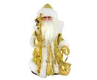 Новогодняя игрушка Дед Мороз золотистый музыкальный Код:346-21516120