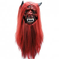 Маска латексная Дьявол с волосами Код:184-16191