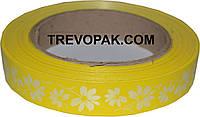 Лента флористическая для цветов и подарков 2см x 50 м желтый цветочек