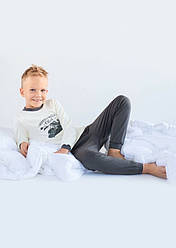 """Пижама детская для мальчика """"Мотоклуб"""" (беж+хаки)"""