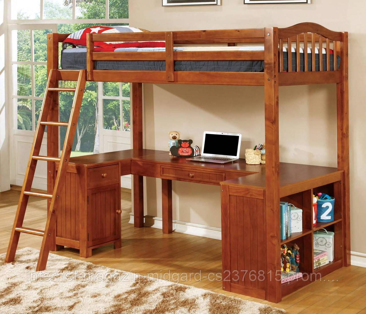 Двухярусная кровать-чердак Магнат (стол, комод, стеллаж) массив