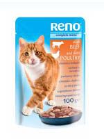 """Паучи для котов """"RENO"""" (говяд.+мясо птицы в соусе) 100 гр"""