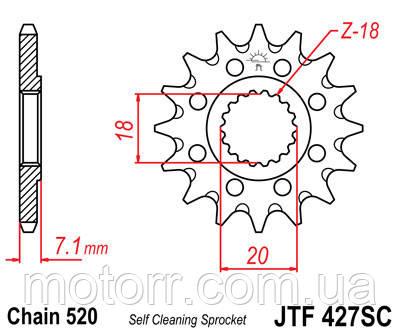 Звезда передняя JT JTF427.13SC