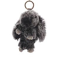 Брелок на сумку Кролик  серый меланж (р-р 15 см ) нат. мех кольцо-карабин