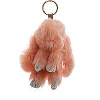 Брелок на сумку Кролик персиковый  (р-р 15 см ) нат. мех кольцо-карабин