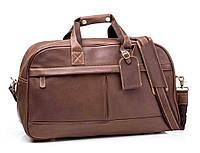 Сумка кожаная дорожная TIDING BAG G9552DB коричневая