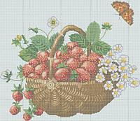 Схема для вышивки бисером Корзинка с клубникой(полная зашивка) КМР 3120