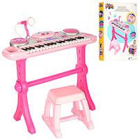 Синтезатор 2068G-NL  37 клавиш, на ножках, стульчик, микрофон, запись, музыка, свет, на батарейке, в коробке,
