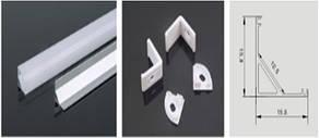 Профиль LEDEX для LED ленты угловой 1м  (угловой 16*16мм) алюминий + пласт.рассеиватель