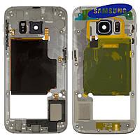 Средняя часть корпуса для Samsung G925F Galaxy S6 EDGE, оригинал (черная)