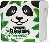 Салфетки Снежная панда 24*23 см, 100 шт однослойные