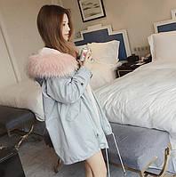 Куртка  женская, демисезоннаяна на искусственном розовом меху с капюшоном , цвет голубой.