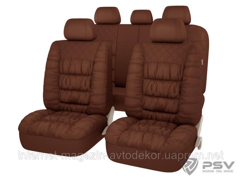 Чехлы на сиденья PSV Magnat качественная экокожа , коричневые.
