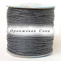 Шнур вощёный с пропиткой 3351 серый 1 мм  х 1м