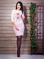 Платье с очень красивым рисунком-надписью с цветами усыпанными стразами