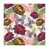 Декупажная салфетка Цветы и бабочки 33*33 см