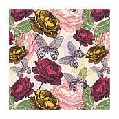 Декупажная салфетка Цветы и бабочки 33*33 см SLOG032701