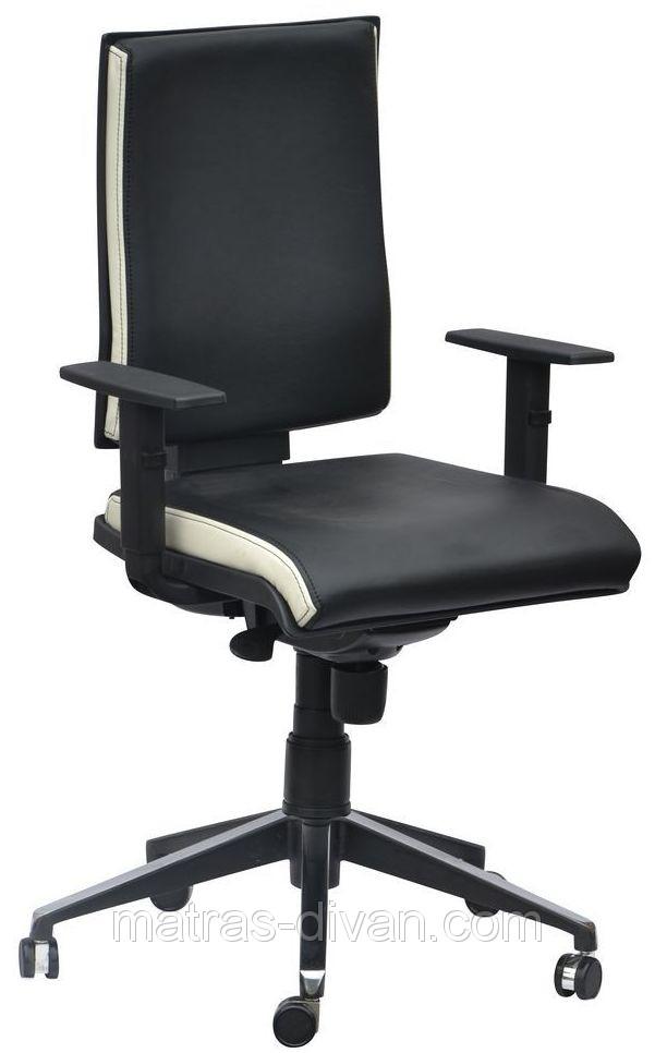 Кресло спейс Алюм HB Неаполь-20чёрный/боковины Неаполь-50 белый.