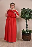 До 74 размера, Красное длинное летнее платье штапель в пол большого размера батал сарафан